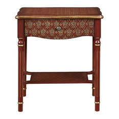 Etonnant HomeFare   Drawer Accent Table Red And Gold Asian Influence   Side Tables  And End Tables