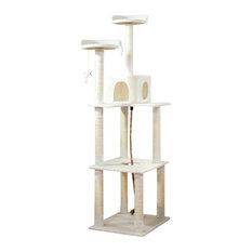 PETMAKER Sleep and Play Cat Tree, 6 ft tall, Ivory