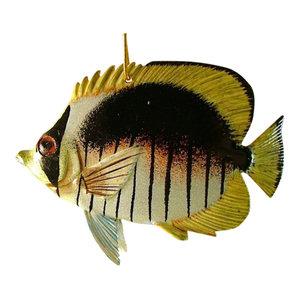"Brown White Yellow Tropical Fish Christmas Holiday Ornament TFO58 6"" Resin"