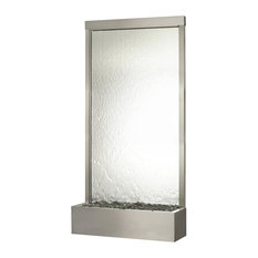 8' Grande Silver Mirror and Stainless Steel Floor Water Fountain