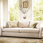 Rowan Upholstered Sofa, Polyester Wrap Cushions, Linen Silver Taupe