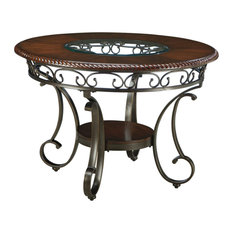 Contemporary Dining Table Scrollwork Metal Legs And Top With Glass Insert