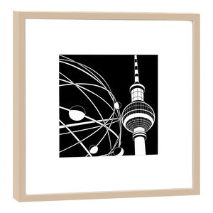 Framed Berlin World Time Clock Graphic Print, Beige, 27x27 cm