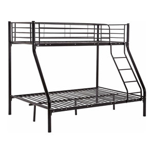 Modern Single-Double Bunk Bed, Strong Metal Construction With Side Ladder, Black