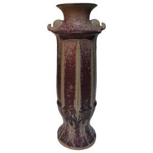 Chinese Purple Porcelain Display Vase Decor Art