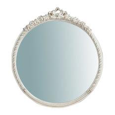 Antique Wall Mirror, Round, 50x55 cm, White
