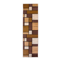 """Contemporary Modern Boxes Rug Runner, Brown, 2'x7' 2"""""""