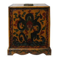Chinese Distressed Yellow Black Dragon Graphic Trunk Box Chest Hcs4723