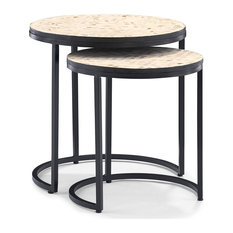 2 Pieces Nesting Tables Metal Frame And Round Top With 2 Distinct Patterns