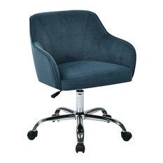 Residence Barnet Comfy Office Chair Petrol Blue Velvet Chairs