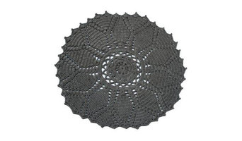 Spura Home 6' Round Charcoal Pet Yarn Crochet Round Rug