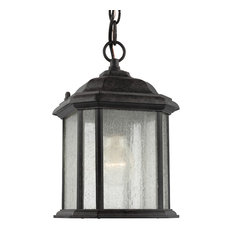Sea Gull Lighting 1-Light Outdoor Semi-Flush Convertible Pendant, Oxford Bronze