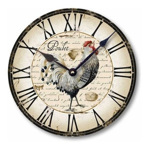 Vintage-Style Country French Chicken Clock, 12 Inch Diameter