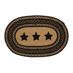 "Farmhouse Star Stencil Star Braided Jute Rug, Oval, 20""x30"""
