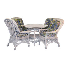 """Bar Harbor 5-Piece Dining Set With 42"""" Glass, White, Imperial Stripe Jewel"""