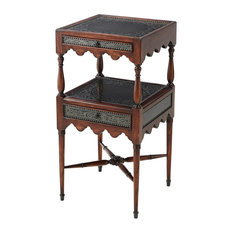 English Georgian America - Regency 2 - Tier Brass Engraved Lamp Table - Side Tables and End Tables