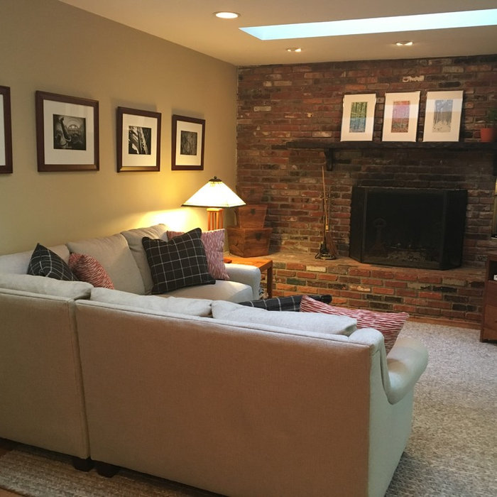 Industrial Brick Wall Family Room Upgrade