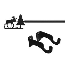 """Wrought Iron Moose & Pine Curtain Rod, 21"""" to 35""""_with brackets & screws"""