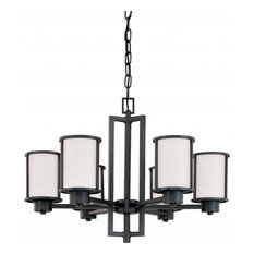 Odeon, 6-Light, Convertible Up/Down, Chandelier With Satin White Glass
