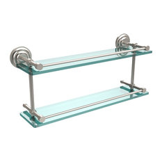 "Que New 22"" Double Glass Shelf With Gallery Rail, Satin Nickel"