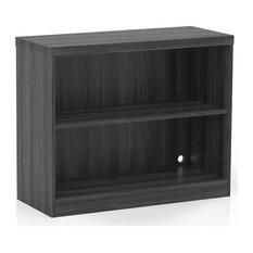 2 Shelf Bookcase (1 Fixed Shelf) Gray Steel