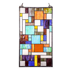 "23"" Stained Glass Mod Collage Window Panel, Multicolor"