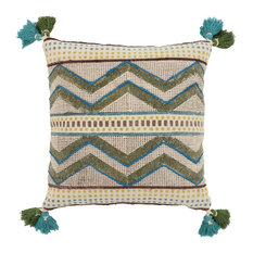Beige, Blue, and Green Decorative Throw Pillow With Boho Pattern and Tassels