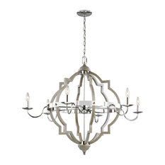 Socorro Six Light Chandelier, Washed Pine