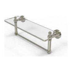 "Waverly Place 16"" Glass Vanity Shelf and Towel Bar, Polished Nickel"