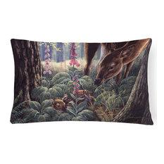 Doe and Fawn Deer Fabric Decorative Pillow
