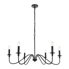 Elegant Rohan Collection Chandelier Matte Black