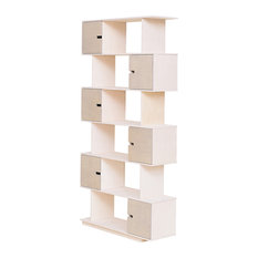 PIX Modular Shelving Unit, White and Pebble Grey, 6 Cupboards