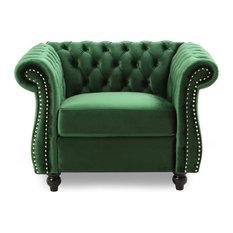 Leila Chesterfield Velvet Club Chair Emerald Dark Brown