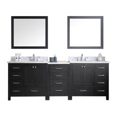 "Caroline Premium 90"" Double Bathroom Vanity Set, Zebra Gray, Square Undermount"