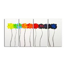 """""""Colorful Arrangement"""" Original Oil Painting On Canvas, Set of 4"""