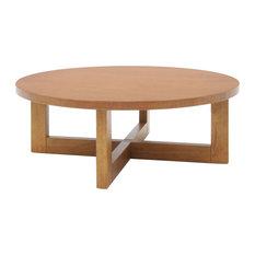Regency Chloe Round Veneer Coffee Table in Medium Oak Walnut