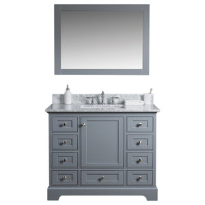 Jocelyn Bathroom Sink Vanity Set, White Marble Top, Base: Charcoal, 42""