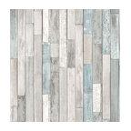 Barn Board Gray Thin Plank Wallpaper, Roll
