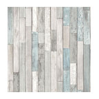 Barn Board Gray Thin Plank Wallpaper, Roll