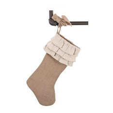 Sidonia Cotton and Jute Ruffled Holiday Decor Christmas Stocking, One Piece