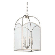 Savoy House Garrett 4 Light In Foyer Pendant Polished Nickel With Clear Glass