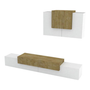 Asia Modern Wall Unit, White and Natural Oak