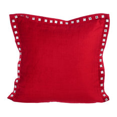"Red Decorative Pillows velvet 20""x20"" Indian Pillow Covers, Red Crystal Palace"
