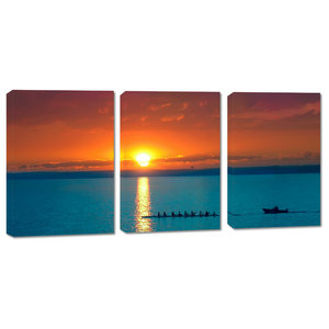 Cloudy Lake Docks During Sunset Canvas Print 3 Panel Split Triptych Wall Art Contemporary Prints And Posters By Canvas Quest Houzz