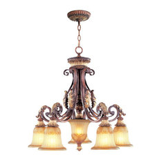 Villa Verona Chandelier, Verona Bronze With Aged Gold Leaf Accents