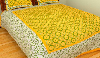 Bedcolors Cotton Block Printed Yellow King Size Bedsheet