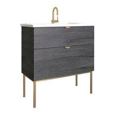 "32"" Modern Bathroom Vanity Set | Smug Akron Oak Wood Gold handle and legs"