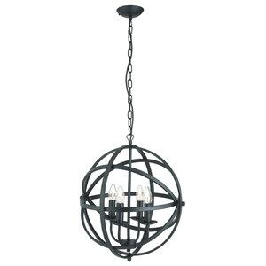 Orbit 4-Light Cage Frame Pendant, Matte Black