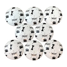 Black and White Paw Prints and Bones Wood Cabinet Knobs, Set of 8