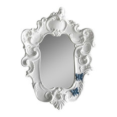 REBIRTH CERAMICS - Small Baroque Style Mirror With Butterfly Motif, Glossy White - Bathroom Mirrors